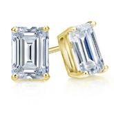 Certified 14k Yellow Gold 4-Prong Basket Emerald Cut Diamond Stud Earrings 2.00 ct. tw. (I-J, I1-I2)