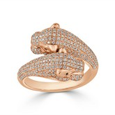 Certified 14k Rose Gold Animal Fashion Emerald and Diamond Ring