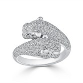 Certified 14k White Gold Animal Fashion Emerald and Diamond Ring