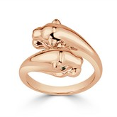 Certified 14k Rose Gold Animal Fashion Emerald Ring