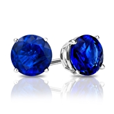 18k White Gold 4-Prong Basket Round Blue Sapphire Gemstone Stud Earrings 0.75 ct. tw.