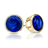 14k Yellow Gold Bezel Round Blue Sapphire Gemstone Stud Earrings 0.25 ct. tw.