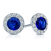 18k White Gold Halo Round Blue Sapphire Gemstone Earrings 1.00 ct. tw.
