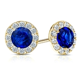 14k Yellow Gold Halo Round Blue Sapphire Gemstone Earrings 0.50 ct. tw.