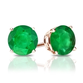 14k Rose Gold 4-Prong Basket Round Green Emerald Gemstone Stud Earrings 1.25 ct. tw.