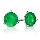 18k White Gold 3-Prong Martini Round Green Emerald Gemstone Stud Earrings 2.00 ct. tw.