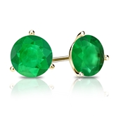 18k Yellow Gold 3-Prong Martini Round Green Emerald Gemstone Stud Earrings 1.25 ct. tw.