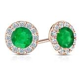 14k Rose Gold Halo Round Green Emerald Gemstone Earrings 0.50 ct. tw.
