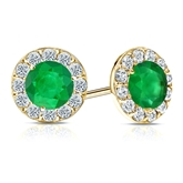 14k Yellow Gold Halo Round Green Emerald Gemstone Earrings 0.50 ct. tw.