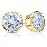 14k Yellow Gold Bezel Round Moissanite Stud Earrings 2.50 ct TGW, 7mm
