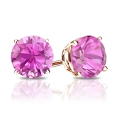 14k Rose Gold 4-Prong Basket Round Pink Sapphire Gemstone Stud Earrings 2.00 ct. tw.