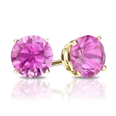 18k Yellow Gold 4-Prong Basket Round Pink Sapphire Gemstone Stud Earrings 0.25 ct. tw.