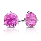14k White Gold 3-Prong Martini Round Pink Sapphire Gemstone Stud Earrings 0.25 ct. tw.