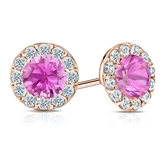14k Rose Gold Halo Round Pink Sapphire Gemstone Earrings 1.00 ct. tw.