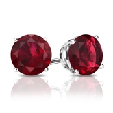 18k White Gold 4-Prong Basket Round Ruby Gemstone Stud Earrings 0.75 ct. tw.