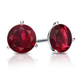 Platinum 3-Prong Martini Round Ruby Gemstone Stud Earrings 0.75 ct. tw.