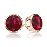 14k Rose Gold Bezel Round Ruby Gemstone Stud Earrings 0.25 ct. tw.