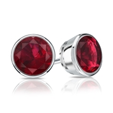 18k White Gold Bezel Round Ruby Gemstone Stud Earrings 0.25 ct. tw.