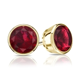 18k Yellow Gold Bezel Round Ruby Gemstone Stud Earrings 1.50 ct. tw.