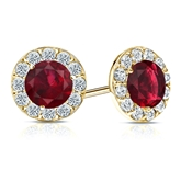 18k Yellow Gold Halo Round Ruby Gemstone Earrings 0.50 ct. tw.