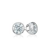 Certified 14k White Gold Bezel Hearts & Arrows Diamond Stud Earrings 0.33 ct. tw. (H-I, I1-I2)