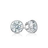 Certified 18k White Gold Bezel Hearts & Arrows Diamond Stud Earrings 0.50 ct. tw. (H-I, I1-I2)