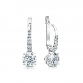 Certified 18k White Gold Dangle Studs 4-Prong Basket Hearts & Arrows Diamond Earrings 1.00 ct. tw. (H-I, I1-I2)