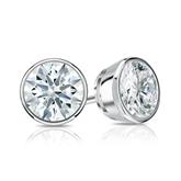 Certified 14k White Gold Bezel Hearts & Arrows Diamond Stud Earrings 1.25 ct. tw. (H-I, I1-I2)
