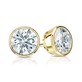 Certified 18k Yellow Gold Bezel Hearts & Arrows Diamond Stud Earrings 1.25 ct. tw. (F-G, VS1-VS2)