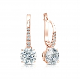 Certified 14k Rose Gold Dangle Studs 4-Prong Basket Hearts & Arrows Diamond Earrings 1.50 ct. tw. (G-H, SI1-SI2)