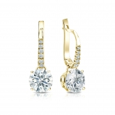 Certified 18k Yellow Gold Dangle Studs 4-Prong Basket Hearts & Arrows Diamond Earrings 1.50 ct. tw. (G-H, SI1-SI2)