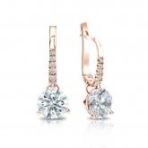 Certified 14k Rose Gold Dangle Studs 3-Prong Martini Hearts & Arrows Diamond Earrings 1.50 ct. tw. (F-G, I1-I2)