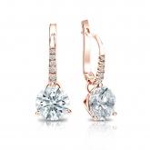 Certified 14k Rose Gold Dangle Studs 3-Prong Martini Hearts & Arrows Diamond Earrings 2.00 ct. tw. (F-G, I1-I2)