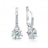 Certified 14k White Gold Dangle Studs 3-Prong Martini Hearts & Arrows Diamond Earrings 2.00 ct. tw. (F-G, VS1-VS2)