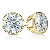 Certified 14k Yellow Gold Bezel Hearts & Arrows Diamond Stud Earrings 2.00 ct. tw. (F-G, VS1-VS2)