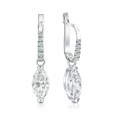 Certified 14k White Gold Dangle Studs V-End Prong Marquise Cut Diamond Earrings 2.00 ct. tw. (I-J, I1-I2)