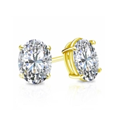 Certified 14k Yellow Gold 4-Prong Basket Oval Diamond Stud Earrings 0.75 ct. tw. (I-J, I1-I2)