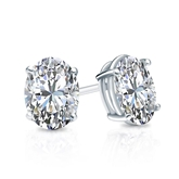 Certified 18k White Gold 4-Prong Basket Oval Diamond Stud Earrings 1.00 ct. tw. (I-J, I1)