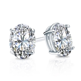 Certified Platinum 4-Prong Basket Oval Diamond Stud Earrings 1.50 ct. tw. (I-J, I1)