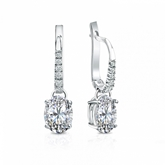 Certified 18k White Gold Dangle Studs  4-Prong Basket Oval Diamond Earrings 1.50 ct. tw. (I-J, I1-I2)
