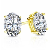 Certified 14k Yellow Gold 4-Prong Basket Oval Diamond Stud Earrings 2.00 ct. tw. (H-I, SI1-SI2)