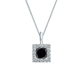 18k White Gold Halo Certified Princess-cut Black Diamond Solitaire Pendant 0.75 ct. tw.