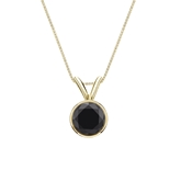 18k Yellow Gold Bezel Certified Round-cut Black Diamond Solitaire Pendant 1.00 ct. tw.