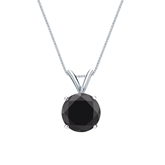 14k White Gold 4-Prong Basket Certified Round-cut Black Diamond Solitaire Pendant 2.00 ct. tw.