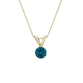 14k Yellow Gold 4-Prong Basket Certified Round-cut Blue Diamond Solitaire Pendant 0.25 ct. tw. (SI1-SI2)