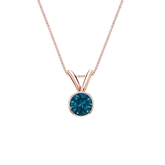 14k Rose Gold Bezel Certified Round-cut Blue Diamond Solitaire Pendant 0.25 ct. tw. (SI1-SI2)
