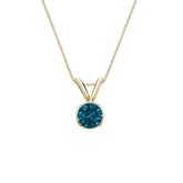 18k Yellow Gold Bezel Certified Round-cut Blue Diamond Solitaire Pendant 0.25 ct. tw. (SI1-SI2)