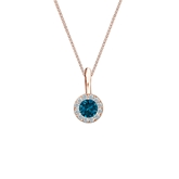 14k Rose Gold Halo Certified Round-cut Blue Diamond Solitaire Pendant 0.25 ct. tw. (SI1-SI2)