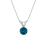 14k White Gold 4-Prong Basket Certified Round-cut Blue Diamond Solitaire Pendant 0.38 ct. tw. (SI1-SI2)