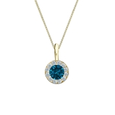 14k Yellow Gold Halo Certified Round-cut Blue Diamond Solitaire Pendant 0.38 ct. tw. (SI1-SI2)